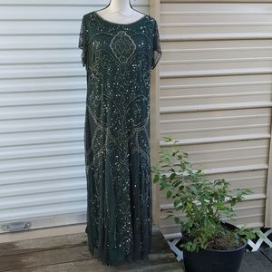 Pizarro nights green beaded gown broken zipper